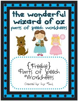 parts of speech wizard of oz themed worksheets freebie parts of speech pinterest. Black Bedroom Furniture Sets. Home Design Ideas