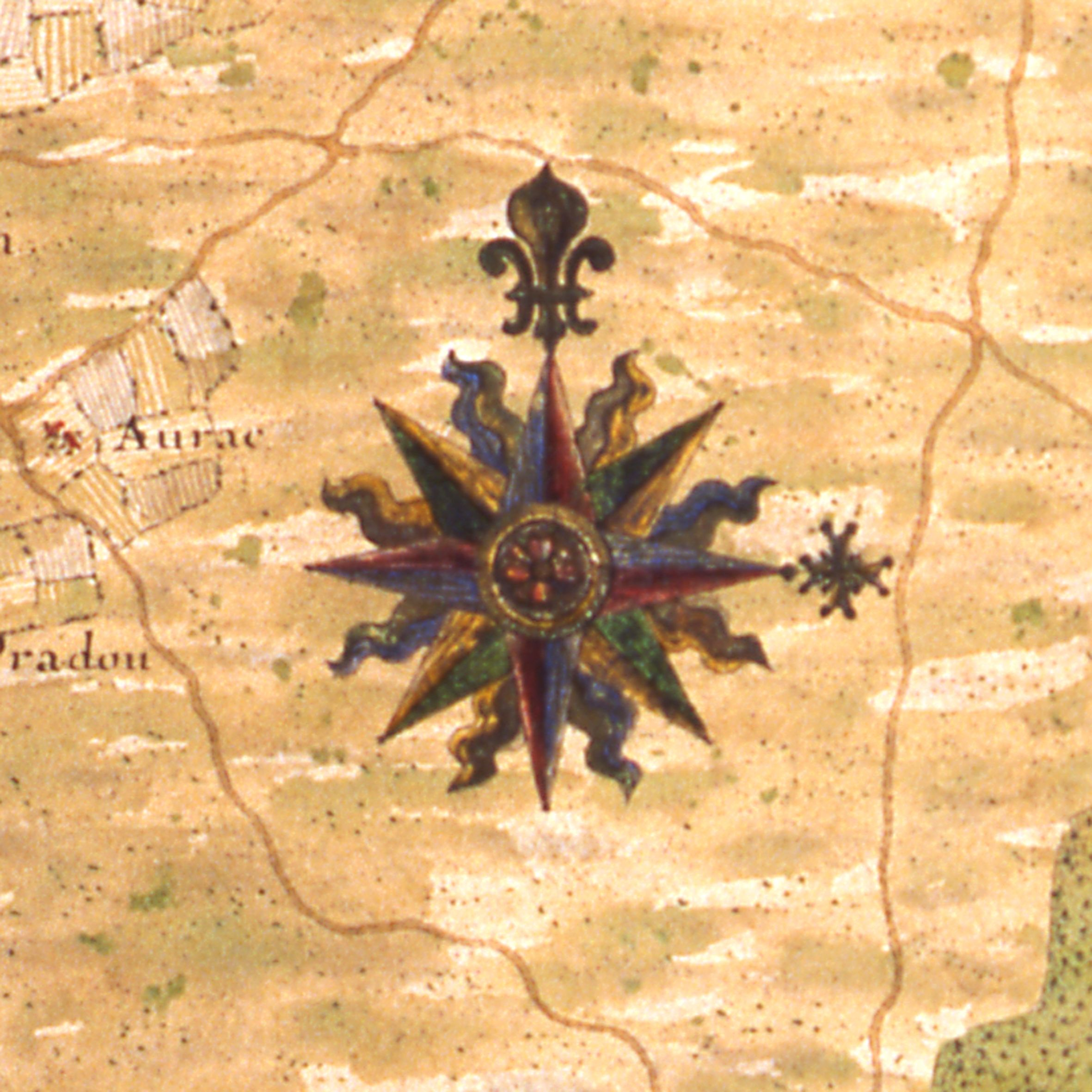 Rose des vents   détail d'une carte des côtes du Bas Poitou, du