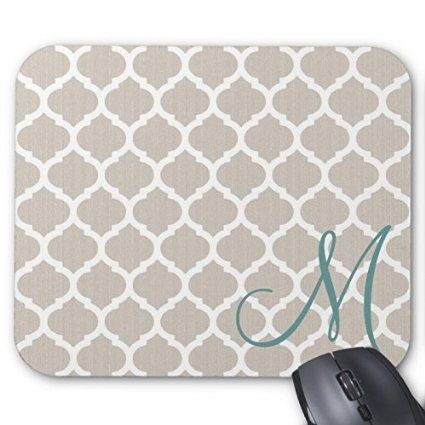 Gray and White Moroccan Quatrefoil Pattern Teal Monogram Mouse Pad High Quality Mouse Pad Desktop Mousepad Laptop Mousepads Comfortable Computer Mouse Mat Cute Gaming Mouse Pad