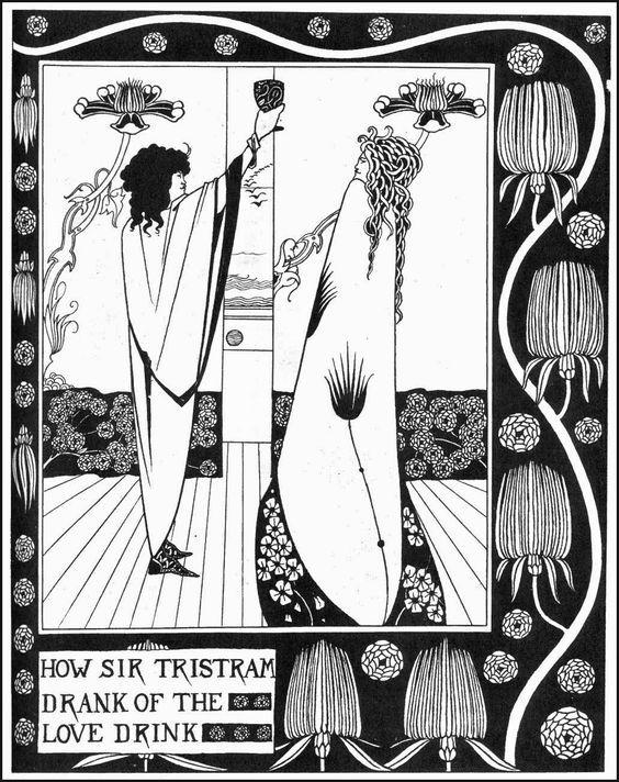 Tristano e Isotta, Beardsley, 1890, incisione.