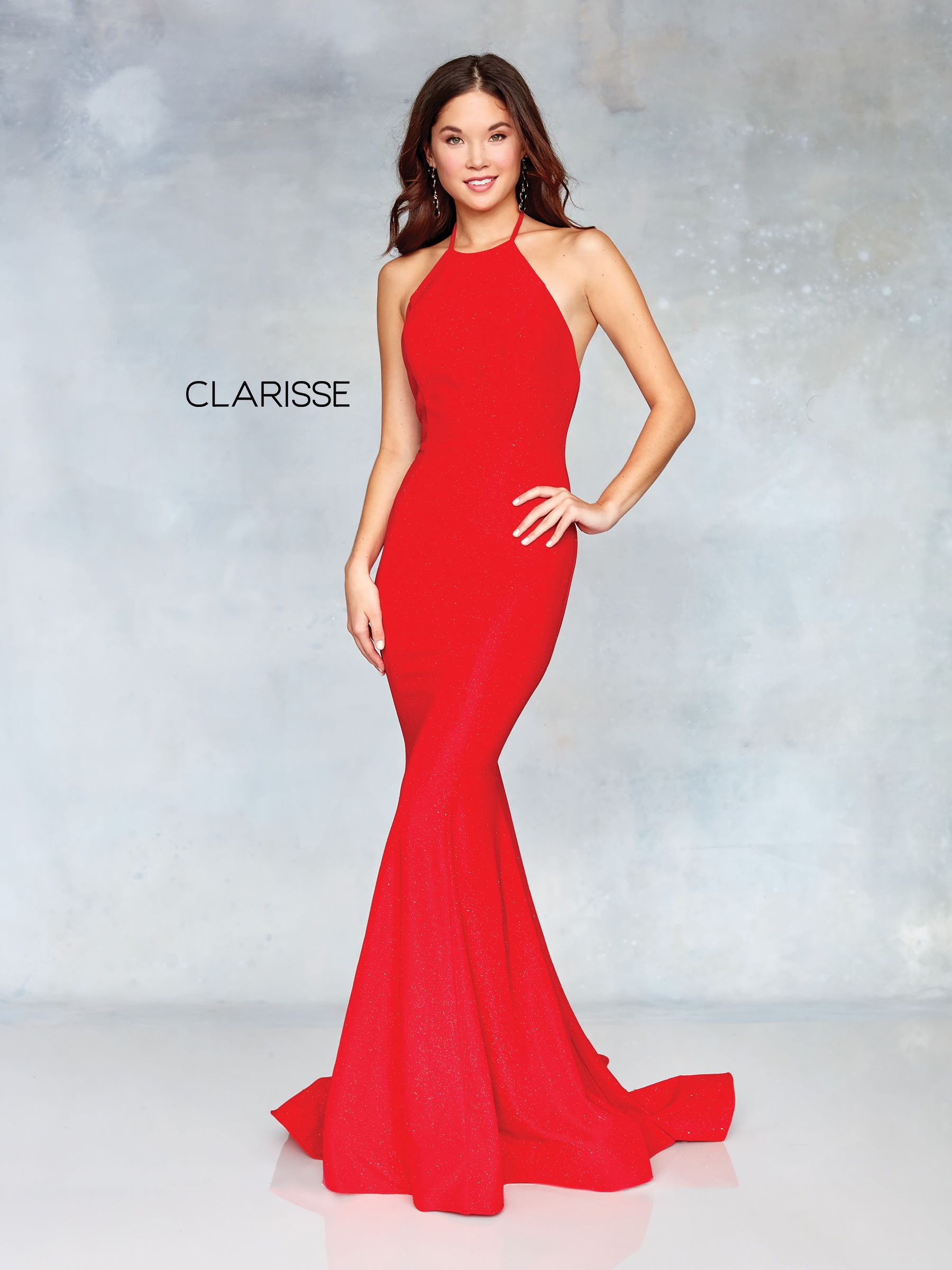 red fit to flare glitter jersey prom dress with a low cut