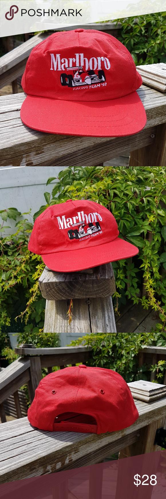 9c9f382f28512 Vintage 90s Marlboro Cigarettes Racing Dad Hat Red Marlboro Cigarettes  Vintage 90 s Red Hat Snapback adjustable Pre owned in good condition  Marlboro ...