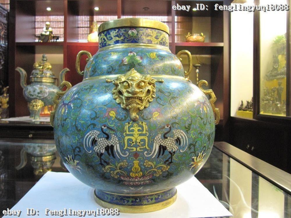 Royal 100% Pure Bronze cloisonne 24K Gold Gild red crowned crane crock Pot Vase