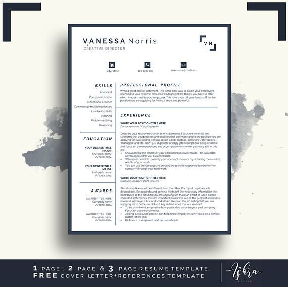 Buy One Get One FREE CV Professional Resume Template for Word - free job resume templates