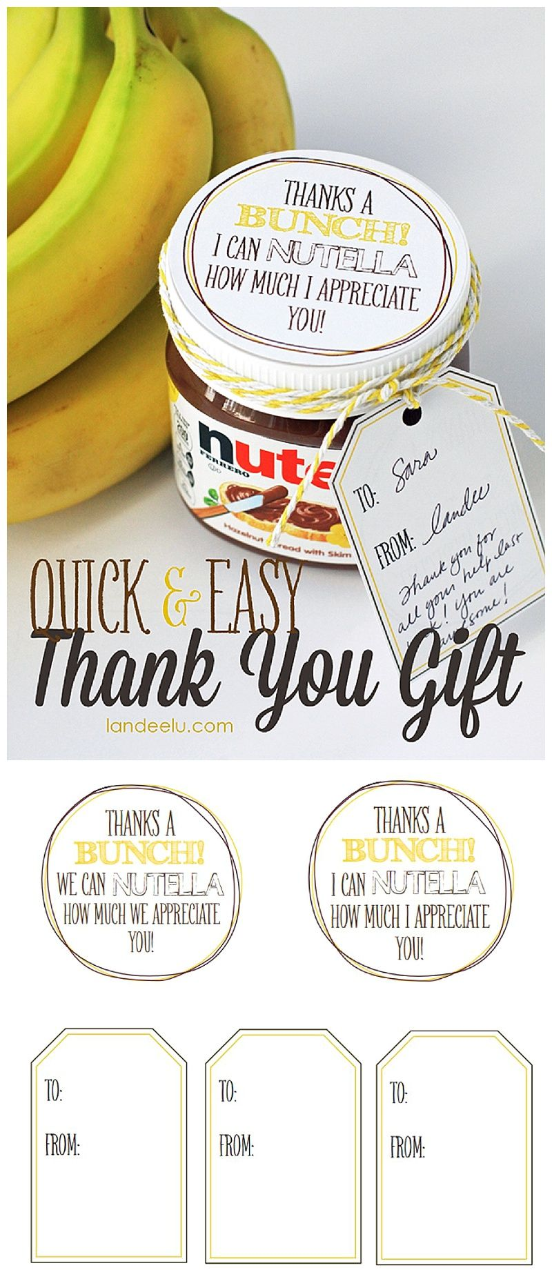 Easy Thank You Gift Idea: Bananas And Nutella!