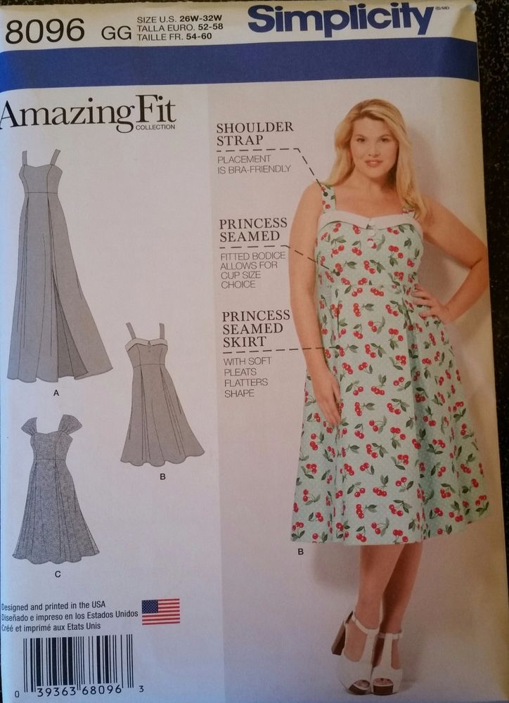 Simplicity Pattern 8096 Misses\' Dress in various lengths and cups ...
