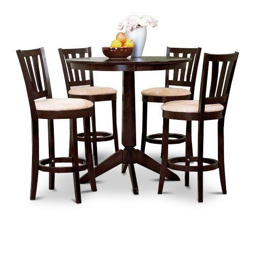 Set Of 4 Kitchen Counter Height Chairs With Microfiber: Espresso Counter Height Dining Bar Table And 4 Bar Stools