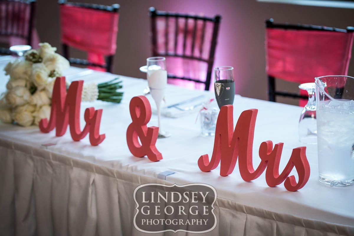 cute mr mrs sign at head table wedding reception at a view west