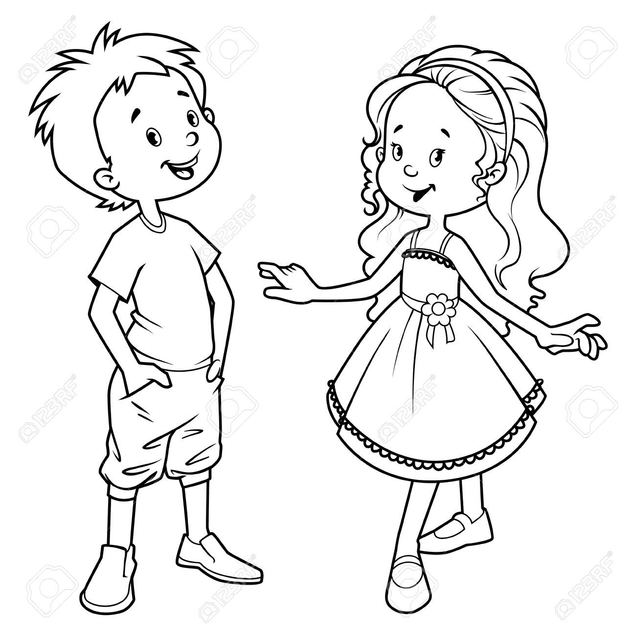Boy And Girl Black White Clipart Free Clipground