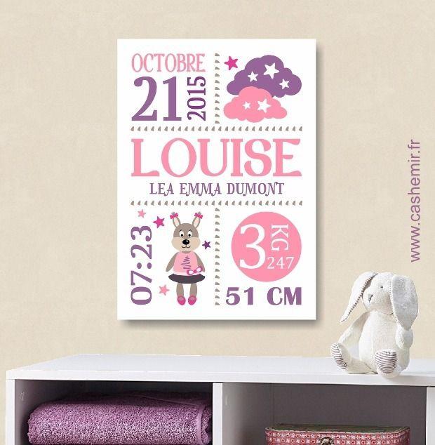 Cadeau de naissance fille personnalisé, affiche de naissance
