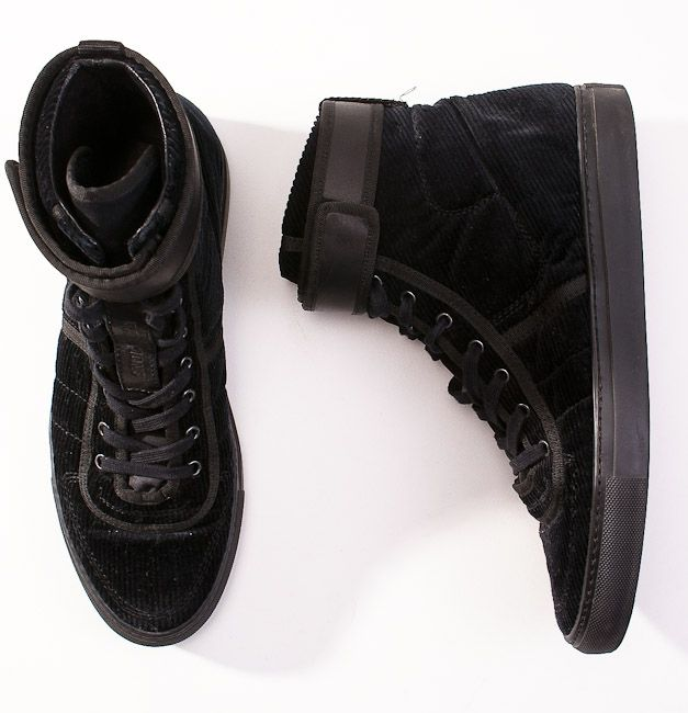RAF SIMONS, BLACK CORDUROY SNEAKERS: these should have been sha's.