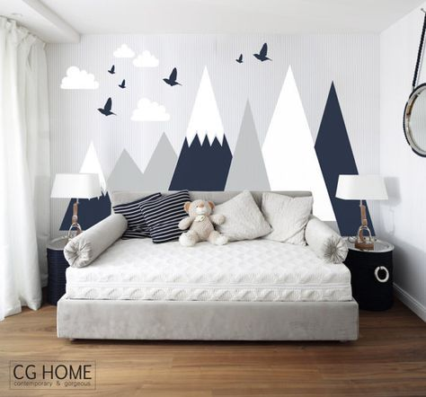 Mountains Wall Decal Woodland Baby Room Decal Clouds Birds Toddlers Custom Personalized Washable Headboard Sticker Nursery Mountains001 Deco Chambre Enfant Deco Chambre Bebe Peinture Chambre Enfant
