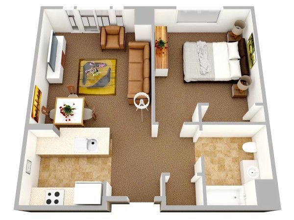 50 Plans en 3D du0027appartement avec 1 chambres Apartments, House and - plan de maison 3d gratuit