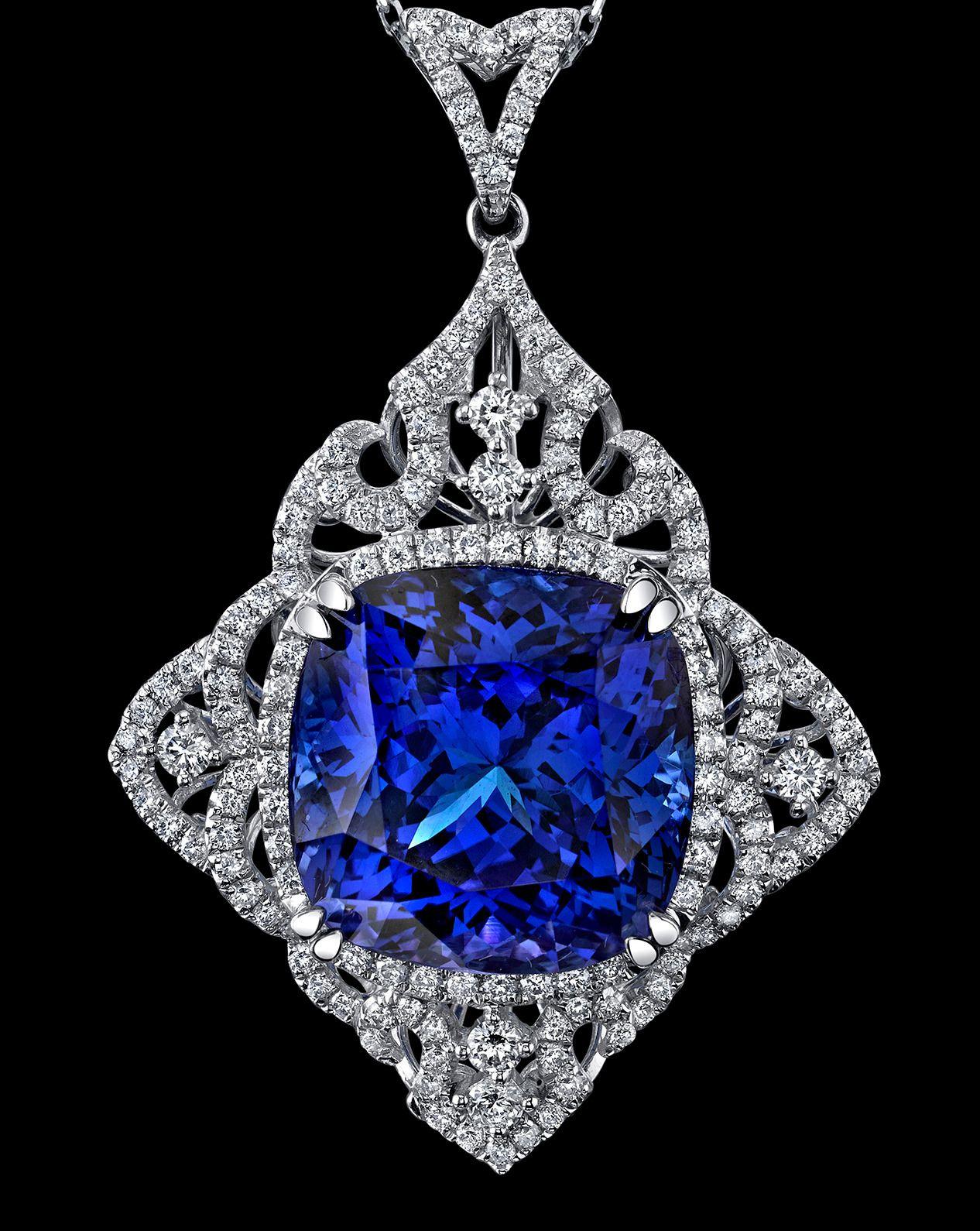 Sensational 2951 carat cushion cut tanzanite diamond gold pendant sensational 2951 carat cushion cut tanzanite diamond gold pendant necklace mozeypictures Images