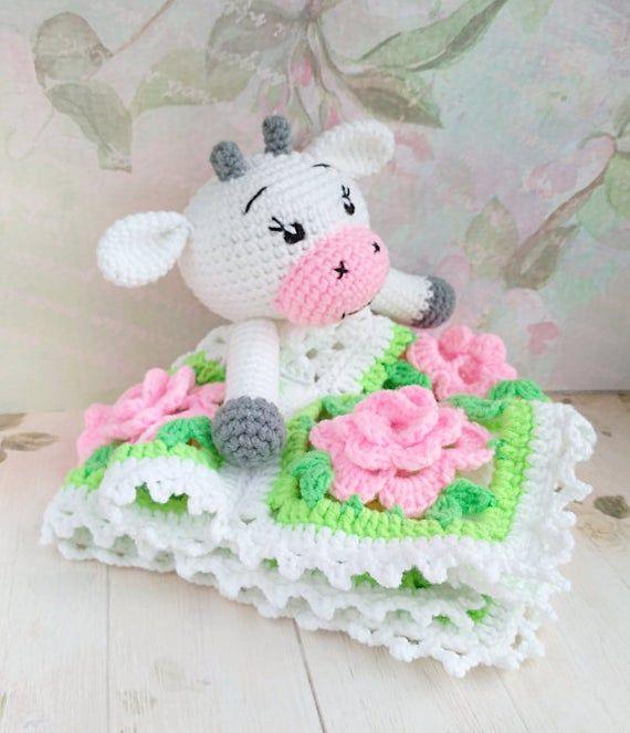 PATTERN Crochet Security Blanket Crochet Lovey Pattern Cow Amigurumi Crochet Pattern PDF file pattern Cow Toy Snuggle Toy Baby Blanket ENG #crochetsecurityblanket