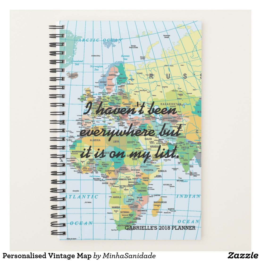 Customise this super cool planner with your own travel wisdom words customise this super cool planner with your own travel wisdom words the background of a vintage style world map makes it a just perfect gift for travellers gumiabroncs Image collections