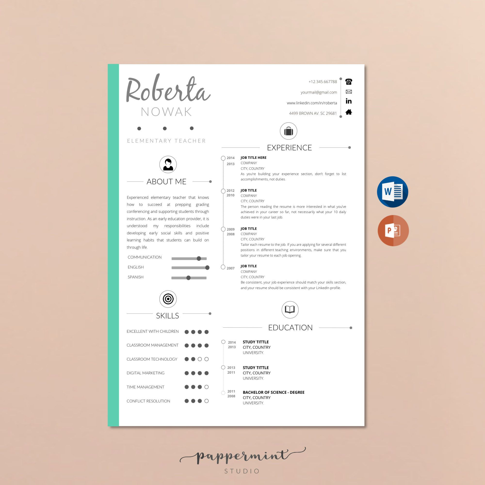 Teacher Resume Template for WORD and Power Point Instant