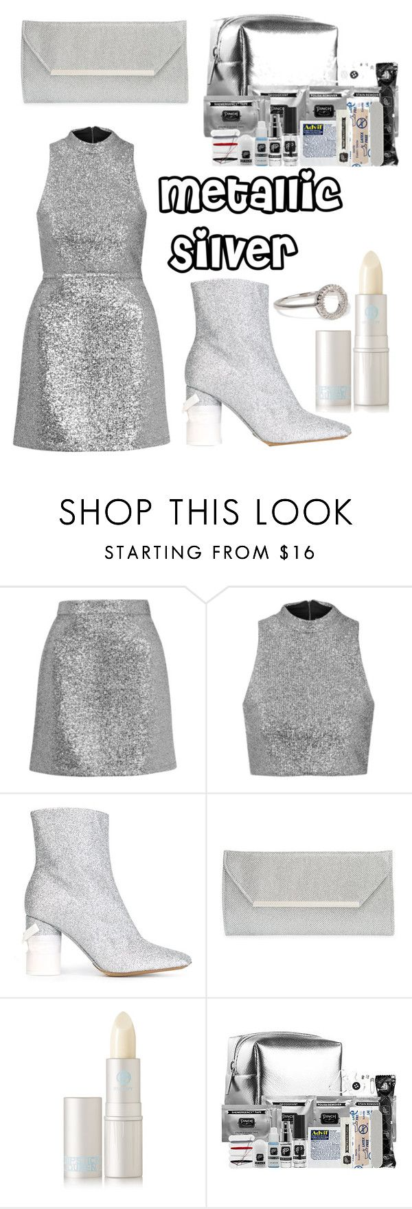 """""""Metallic silver"""" by ralisravya ❤ liked on Polyvore featuring Topshop, Maison Margiela, Glint, Lipstick Queen, Pinch Provisions and Adina Reyter"""
