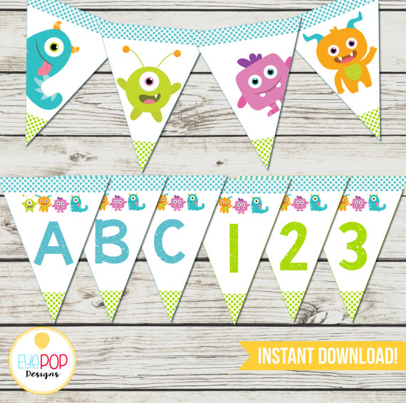 Little Monster Birthday Banner Alphabet Numbers First