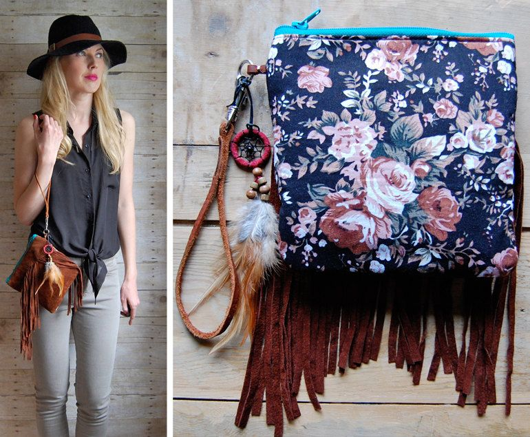 Two-Sided Boho Fringe pouch with blossom fabric and dreamcatcher. $45.00, via Etsy.