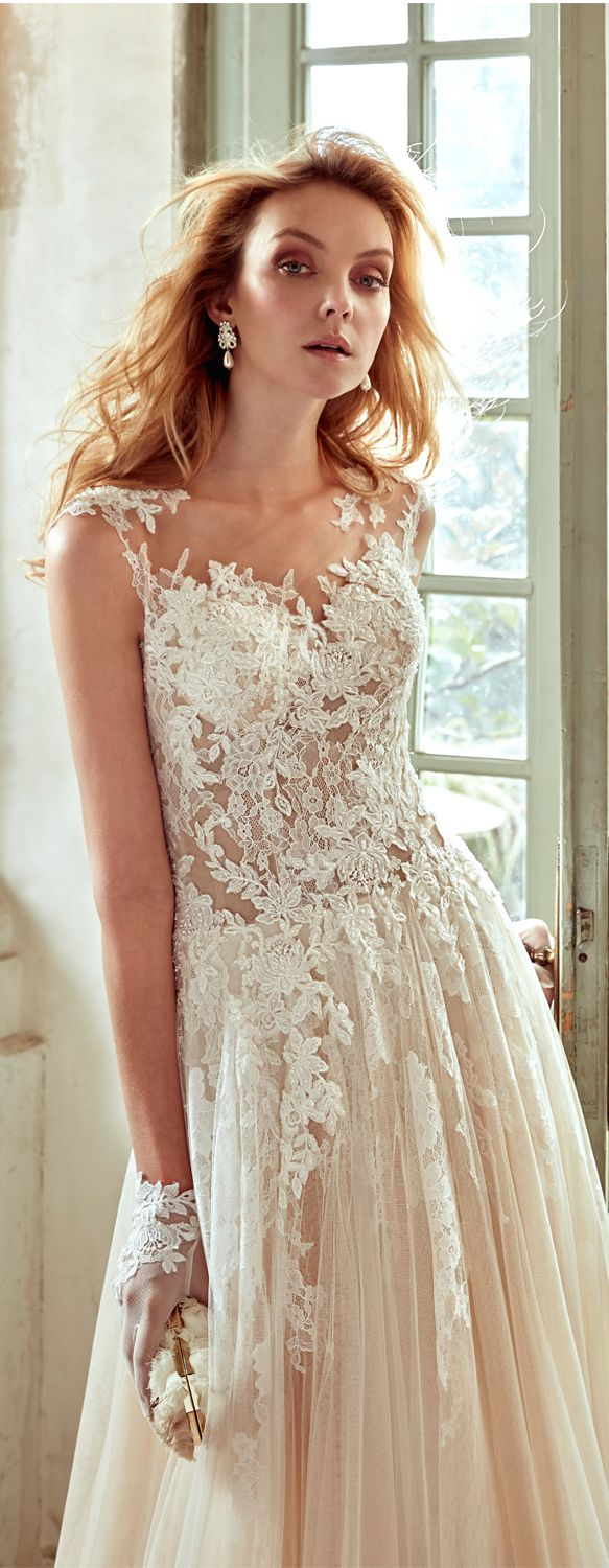 Nicole Ivory Nude soft line dress, in tulle with macramè beading ...