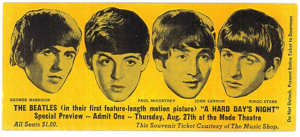 """Ticket for a special preview showing of """"A Hard Day's Night"""" on Thursday, August 27, 1964."""