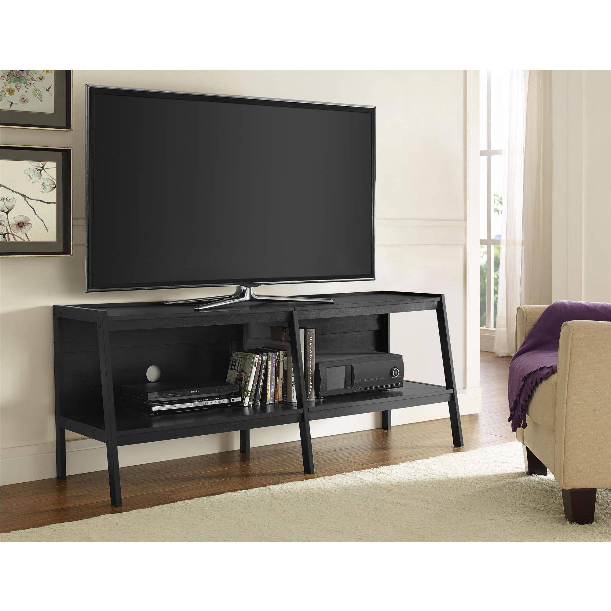 Ameriwood Home Lawrence 60 Ladder Tv Stand Black Black Corner