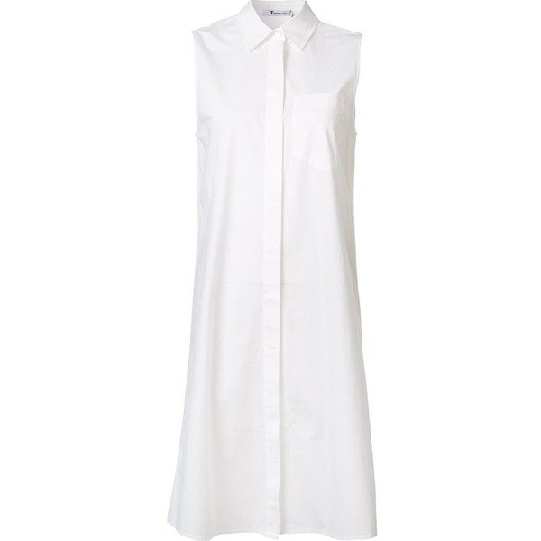 T By Alexander Wang Flared Shirt Dress ($198) ❤ liked on Polyvore featuring dresses, white, sleeveless shirt dress, white flare dress, long shirt dress, collared dresses and flare dresses