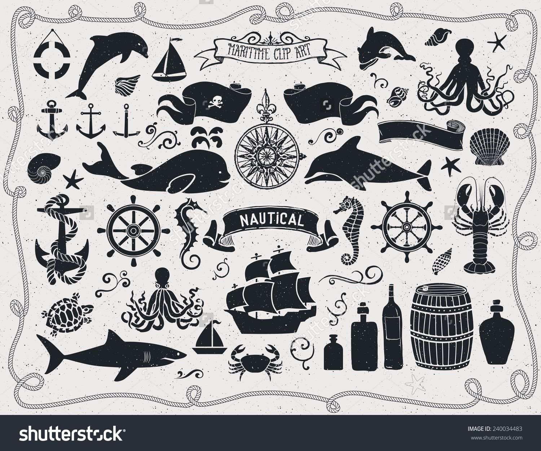 Maritime Clip Art Set of nautical icons and design