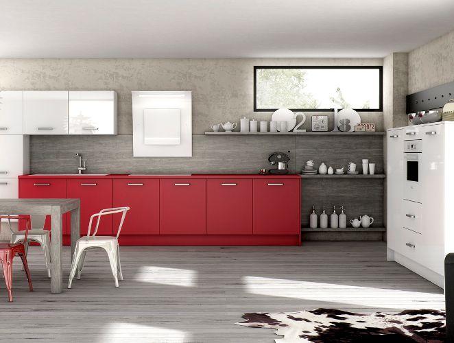 Cuisine ouverte rouge - Modèle  Harmonie - modele de cuisine americaine