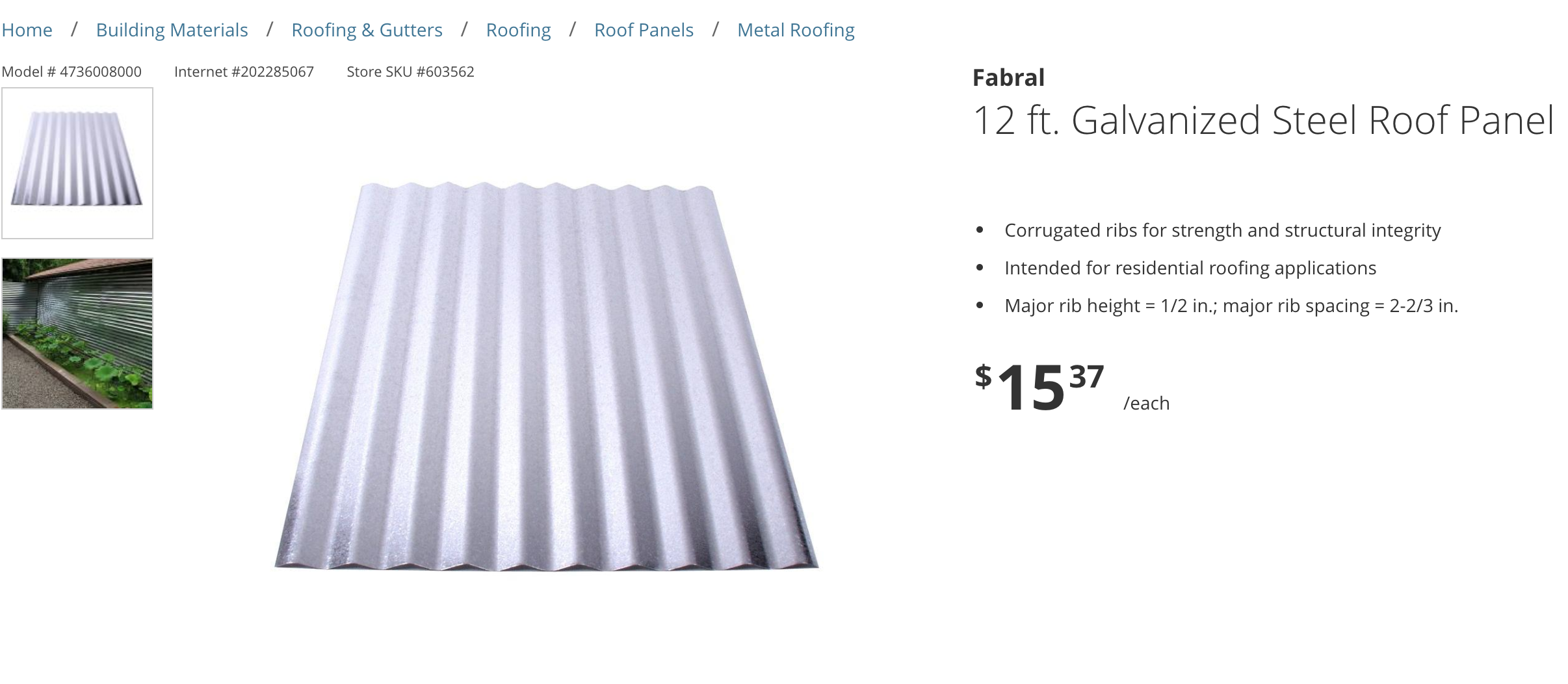 Fabral 12 Ft Galvanized Steel Roof Panel 4736008000 The Home Depot Steel Roof Panels Roof Panels Galvanized Metal Roof