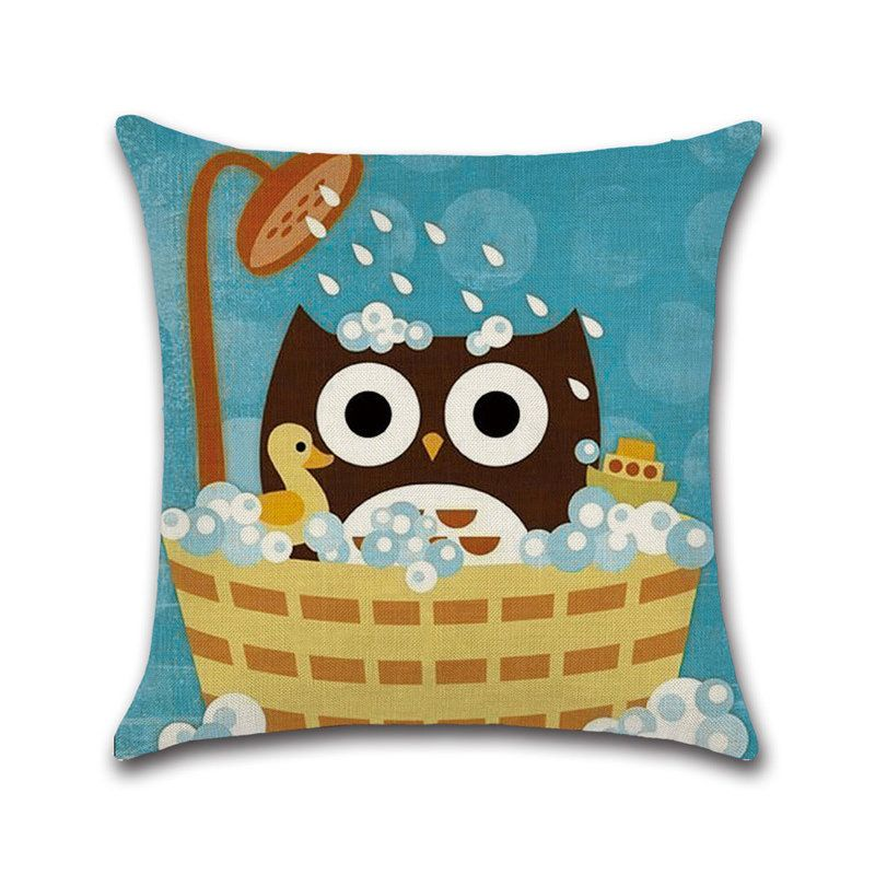 Square Cartoon Owl Cotton Linen Cushion Cover Home Decor Pillowcase Aff Cotton Linen Owl Square C Linen Cushion Cotton Linen Cushion Cushion Cover