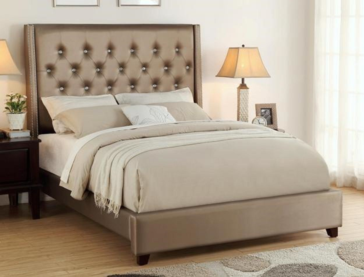 fontaine bed bronze diamond tufted faux leather with nailhead
