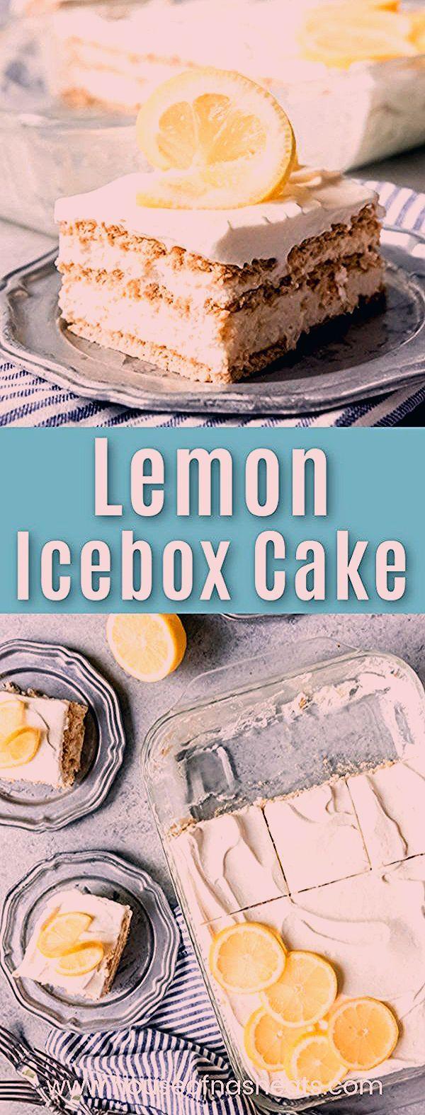 This Lemon Icebox Cake has layers of cool, creamy lemon filling, graham crackers, and sweetened whi
