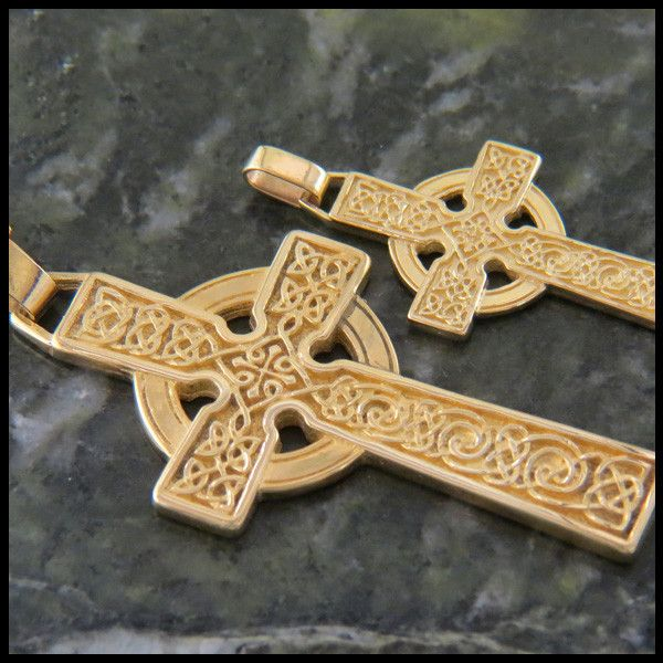 Celtic Adomnan Cross Pendant in 14K Gold Gold cross Gold and Pendants
