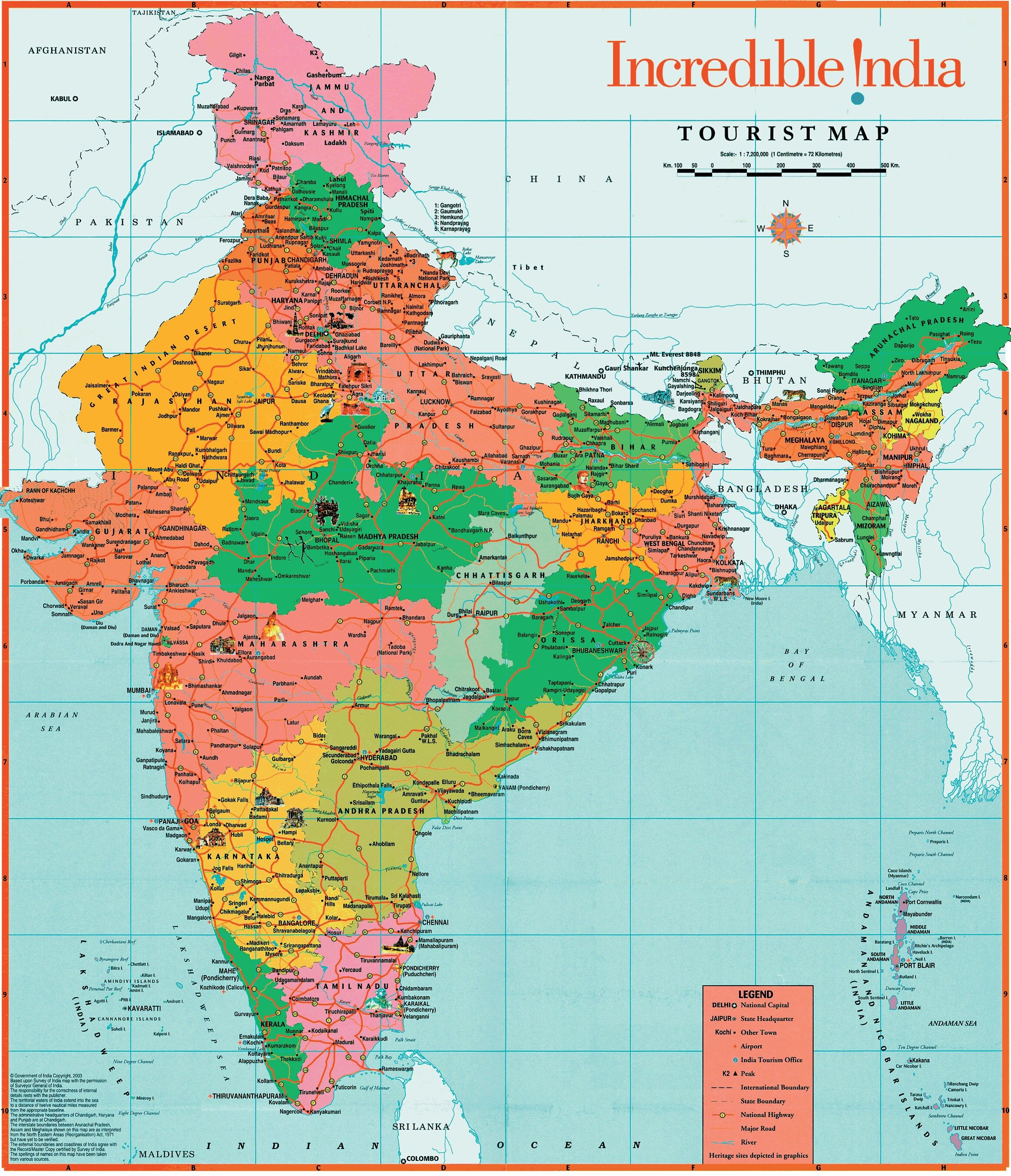 India Fisica Cartina.Mappa Politica Dell India India Mappa Politica