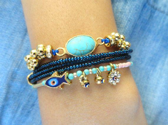 Ethnic bracelet set dark blue braided bracelet turkish istanbul evil eye jewelry black string bracelet gifts for women best friend birthday