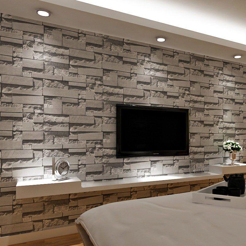 Gestapelte Ziegel D Stein Tapete Moderne Wandverkleidung Pvc Rolle Wand  Papier Mauer Hintergrund Tapete Grau