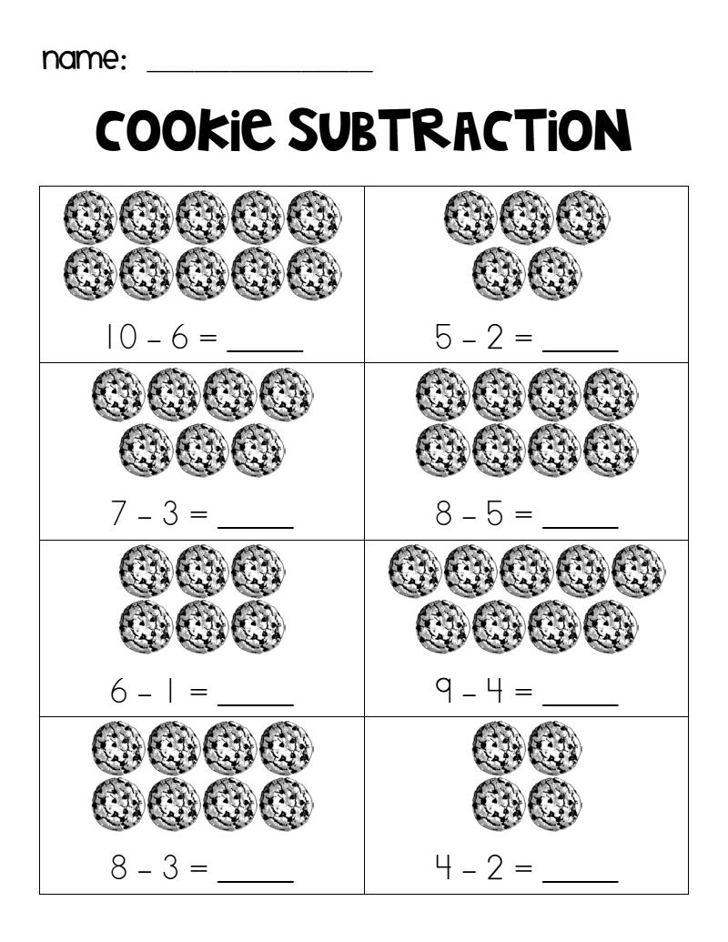 Cookie Subtraction Pdf Subtraction Kindergarten Math Subtraction Summer Math Activities [ 1035 x 800 Pixel ]