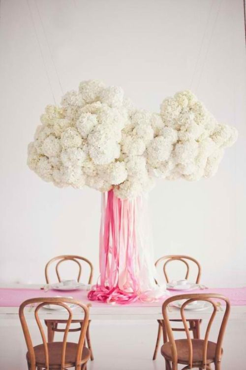 Hanging Decor (or center piece) with a cloud made of hydrangia and ribbon falling from the center.