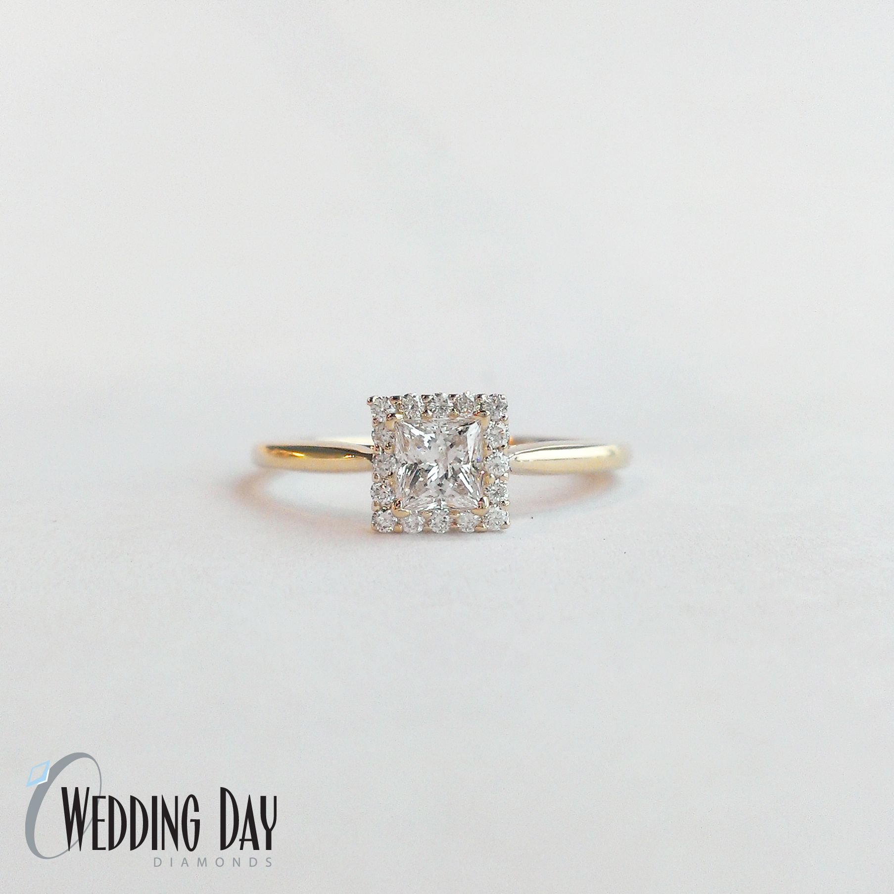 Yellow Gold Princess Halo Engagement Ring.  I find this absolutely beautiful.