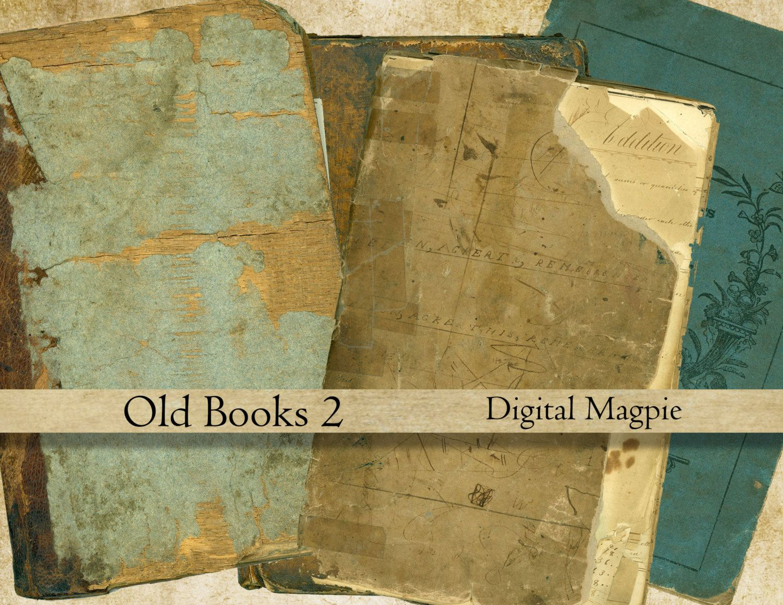 Scrapbook paper booklet - Old Book Covers Digital Collage Sheet Aged Vintage Antique Books Scrapbook Paper Tattered 6 X4 Printable Background Grunge Instant Download