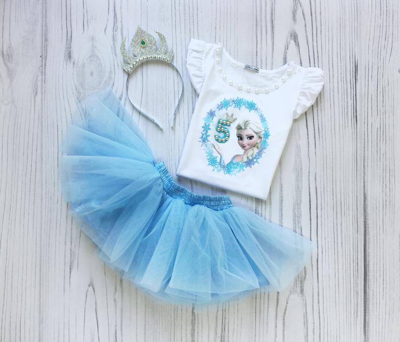 Anna Elsa Frozen Princess Olaf Pink Blue 6th Girl Birthday Tutu Shirt Outfit Set