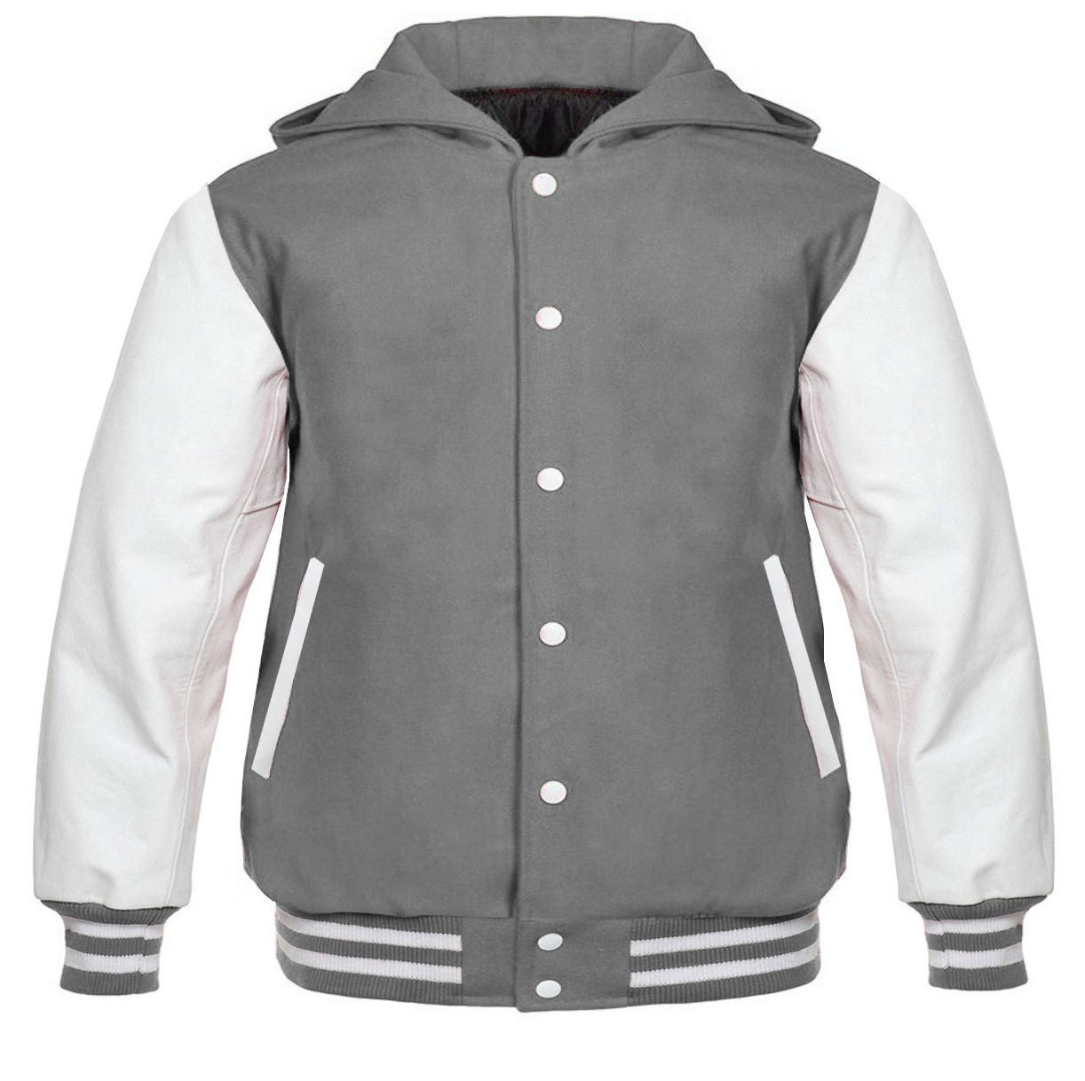 Details about Grey White Hoodie Varsity Letterman jacket