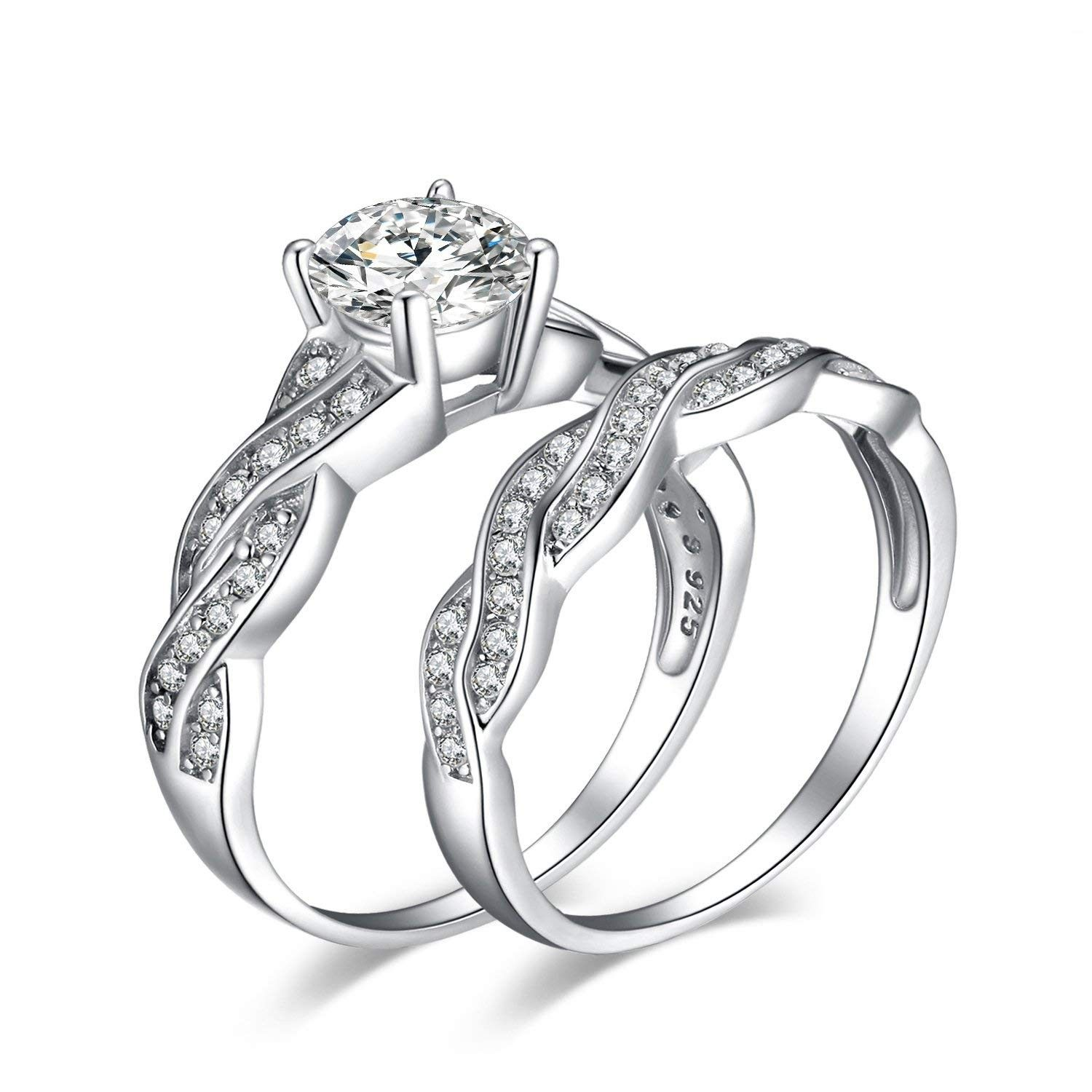 925 Sterling Silver Twisted Vine Solitaire Engagement Ring Cubic Zirconia