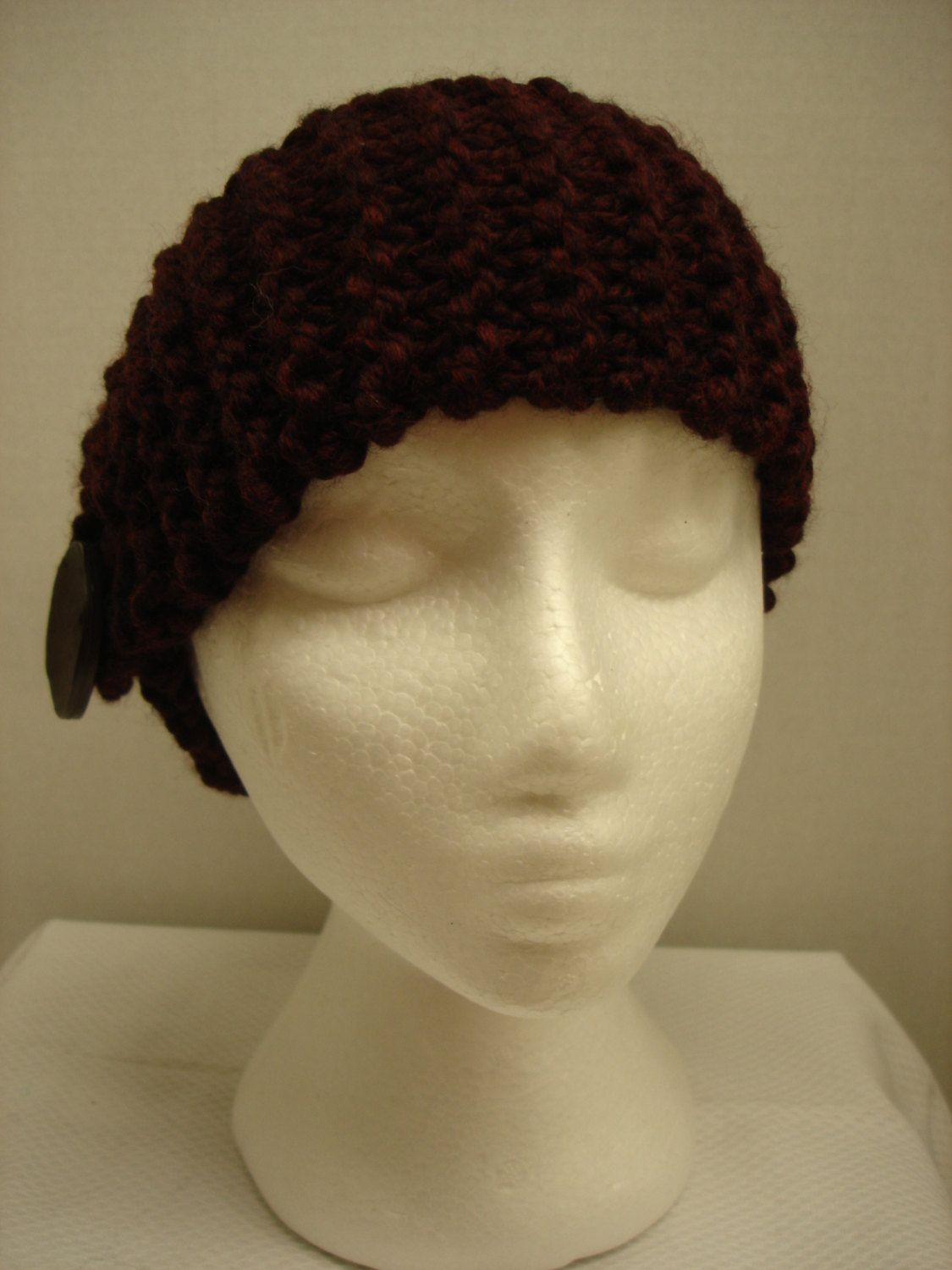 Hand Knit Headband or Neck warmer with Button Accent in Dark ...
