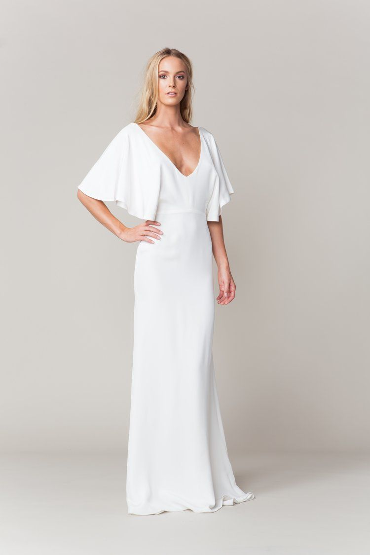 Wedding dress consignment shops near me  Modern  minimalistic Kennedy dress with flutter sleeves by Sarah
