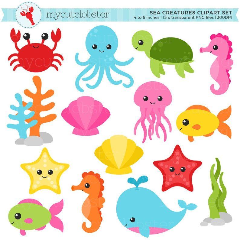 Sea Creatures Clipart Set Sea Animals Clip Art Crab Fish Octopus Turtle Ocean Personal Use Small Commercial Use Instant Download Sea Creatures Cartoon Sea Animals Sea Animals