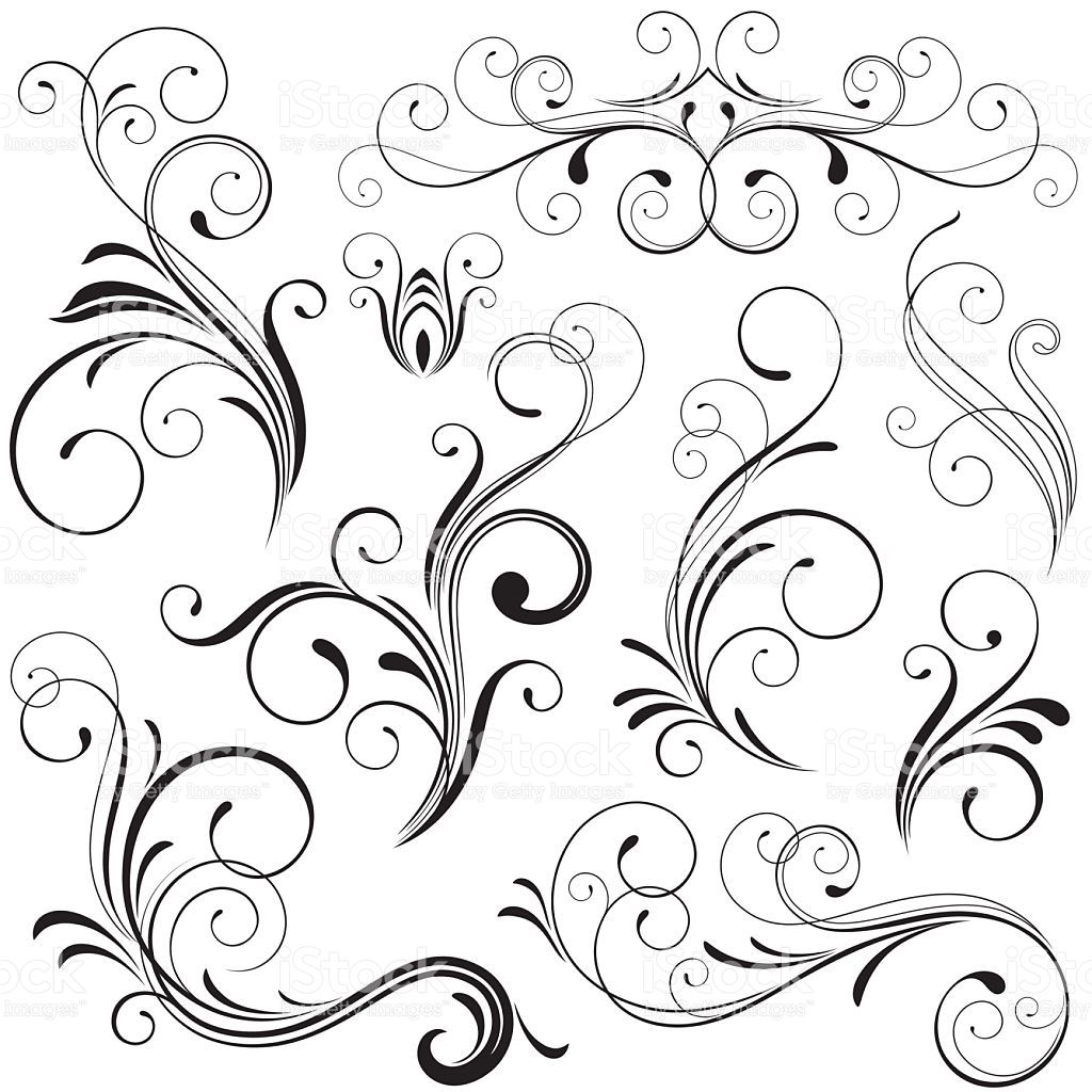 set of nine finely illustrated scrolls and scroll elements all