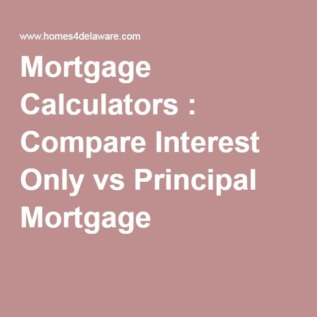 Mortgage Calculators  Compare Interest Only vs Principal Mortgage